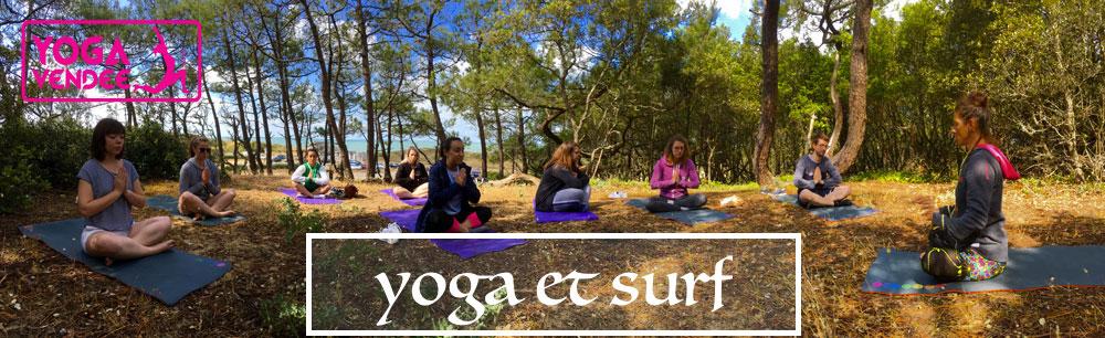 Surf et Yoga Cours de yoga Dynamique et surf plage des Conches Longeville-sur-Mer Vendée collaboration Manusurf Yoga Vendée